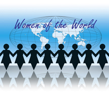 Graphic of world with cutout s of women